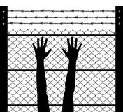Raised hands and barbed wire prison boundary, vector. Black and white illustration of woman raised hands and barbed wire prison boundary, vector Royalty Free Stock Photography