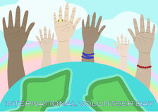 Raised hands celebrating International Volunteer D. Hands raised into air celebrating International Volunteer Day, with planet Earth in the foreground Royalty Free Stock Photos