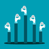 Raised hands with coins vector concept in flat style Stock Image