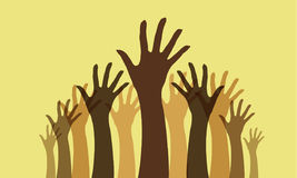 Raised hands. A collection of raised hand silhouettes with different blending modes Stock Photo