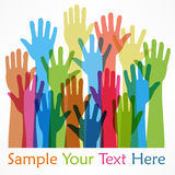 Raised hands color Stock Image