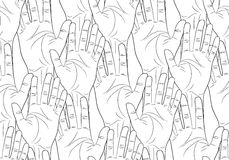 Raised hands contour seamless pattern Royalty Free Stock Image