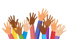 Raised hands of different race vector illustration