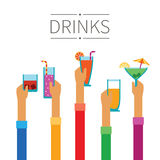 Raised hands with drinks and cocktails vector concept in flat style Royalty Free Stock Photography