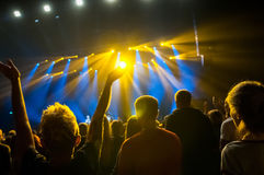 Raised hands of fans during a concert, show or performance Stock Photo