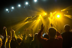 Raised hands of fans during a concert, show or performance Royalty Free Stock Photo