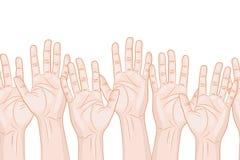 Raised hands horizontal seamless pattern Stock Photo