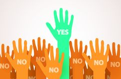 Raised hands with one individuality or unique person saying Yes. One leader of the crowd. Voting or volunteer concept. Royalty Free Stock Image