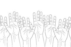 Raised hands outline contour seamless pattern Royalty Free Stock Photography
