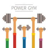 Raised hands with power gym equipment concept in flat style Royalty Free Stock Photos