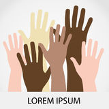 Raised hands up together with different skin tone Stock Photo