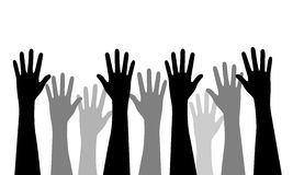 Raised hands. Vector concept illustration of different multiracial raised hands isolated on white background - flat and elegant graphic style. Editable EPS file royalty free illustration
