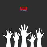 Raised hands vector poster. Illustration Royalty Free Stock Images