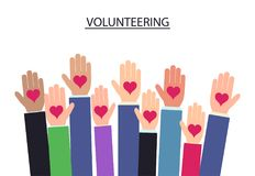 Raised hands volunteering. vector. Raised up hands Volunteering on blue background, charity hand with heart. vector Royalty Free Stock Photos