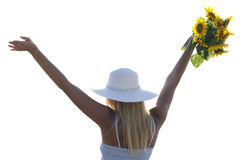 She raised her hands up and holding a bouquet of sunflowers stock photo