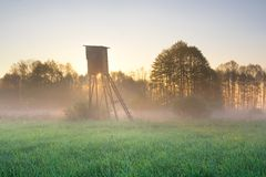 Raised hide on foggy meadow. Foggy meadow landscape with raised hide at sunrise Stock Photo