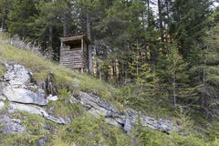 Raised hide in a forest. In Austria Stock Photos