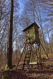 Raised hide in forest on a sunny day. With blue sky Stock Photo