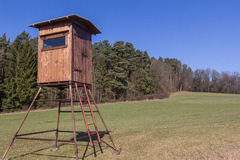 Raised hide. A raised hide for hunting in spring Royalty Free Stock Images