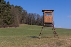 Raised hide. A raised hide for hunting in spring Stock Images