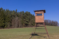 Raised hide. A raised hide for hunting in spring Royalty Free Stock Photo