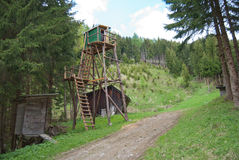 Raised hide. In the mid-range mountains with mixed forest in Steiermark, Austria Royalty Free Stock Image