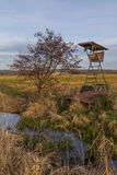 Raised hide. A raised hide next to a little stream Royalty Free Stock Image