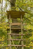 Raised hide - raised blind in autumn light Stock Photography