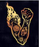 Raised inked hand as a fist gesture with fire burning in flash tattoos. Riot strike, protest fighter symbol. Power sign of freedom revolution. Rights activism Stock Image
