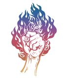 Raised inked hand as a fist gesture with fire burning. Concept of a riot strike, protest fighter symbol. Power sign of freedom revolution. Rights activism Royalty Free Stock Photo