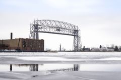 Raised lift bridge at Duluth Minnesota Stock Photo