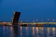 Raised Liteyny Bridge. Saint-Petersburg, Russia. Royalty Free Stock Photo