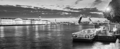 The raised Palace bridge at white nights , black-and-white image Royalty Free Stock Photography