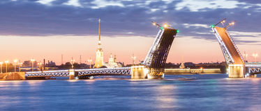 The raised Palace bridge at white nights Royalty Free Stock Photography