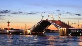 The raised Palace bridge at white nights stock footage