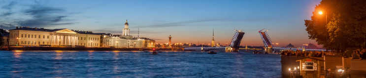 The raised Palace bridge at white nights Stock Images