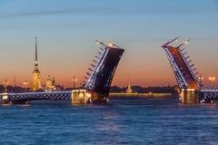 The raised Palace bridge at white nights Royalty Free Stock Image
