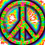 Raised Peace Sign on Fiery Background. Illustration of colorful Peace Sign Stock Photography