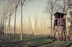 Raised shed. Hunt tower Royalty Free Stock Photography