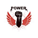 Raised strong clenched fist winged logo. Best fighter vector sym. Bol, champion concept Royalty Free Stock Photos