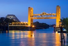 Raised Tower Bridge in Sacramento royalty free stock image