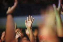 Raised up from the emotions of the hands. At a musical concert Royalty Free Stock Images