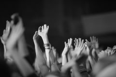 Raised up from the emotions of the hands. At a musical concert Royalty Free Stock Image