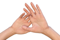 Raised up female palms with crossed fingers Stock Photos