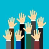 Raised up hands on blue background. Vector illustration stock illustration