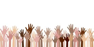 Raised up hands of different skin color vector illustration