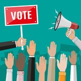 Raised up hands. People vote hands. Voting concept. Volunteering and election concept. Hand with megaphone and placard. Political event or meeting. Vector Stock Photos