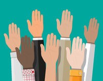 Raised up hands. People vote hands. Volunteering and election concept. Vector illustration in flat style Stock Image