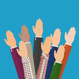 Raised up hands. People vote hands. Volunteering and election concept. Vector illustration in flat style Stock Photos