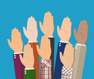Raised up hands. People vote hands. Stock Images
